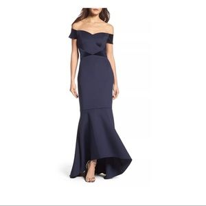 NWT Eliza J Off the Shoulder High/Low Mermaid Gown